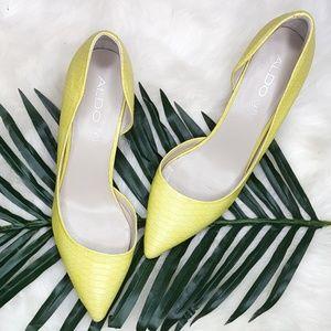 Aldo Aceilia Yellow D'Orsay Pump Heels 9